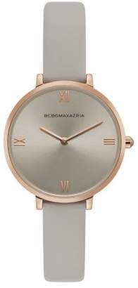BCBGMAXAZRIA Women's Rose Gold Case Grey Dial Grey Strap Watch