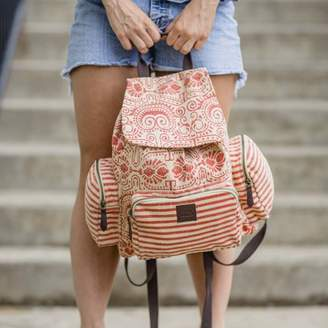 Ashton & Willow Carnelian Orange Beach Handbags Amber Rucksack Cotton Adjustable Strap Distressed Appearance Antique Brass Hardware Canvas Striped Backpack