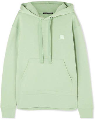 Acne Studios Ferris Face Appliquéd Cotton-jersey Hoodie - Light green