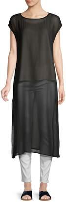 Eileen Fisher Cap-Sleeve Silk Tunic