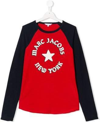 Little Marc Jacobs TEEN logo T-shirta ribbed crew neck