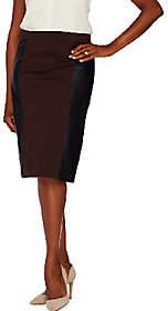 Susan Graver Ponte Comfort Waist Skirt w/ FauxLeather Panels