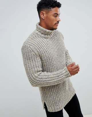 Asos DESIGN heavyweight fisherman rib roll neck sweater in oatmeal