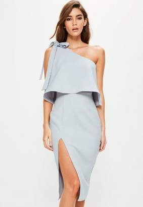 Missguided Grey Crepe One Shoulder Bow Sleeve Midi Dress