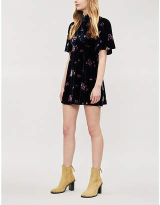 Free People Be My Baby floral-print velvet mini dress