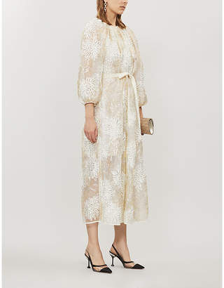 Huishan Zhang Luna Floral-Embroidered Tulle Midi Dress