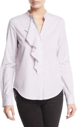 Striped Long-Sleeve Ruffle Button-Front Shirt