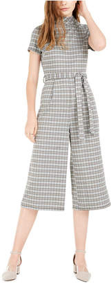 BeBop Juniors' Mock-Neck Plaid Cropped Jumpsuit