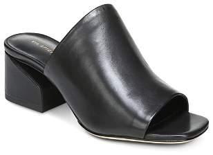Via Spiga Women's Porter Leather Block Heel Slide Sandals