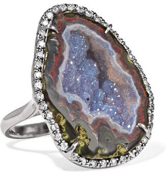 Kimberly McDonald - 18-karat Blackened White Gold, Geode And Diamond Ring