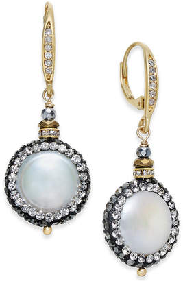 Paul & Pitu Naturally Two-Tone Freshwater Pearl (17mm) & Crystal Pave Drop Earrings