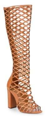 Schutz Liza Open Toe Leather Knee-High Boots