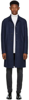 Harris Wharf London Blue Pressed Wool Mac Overcoat