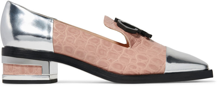 Emilio PucciEmilio Pucci Paneled croc-effect and metallic glossed-leather moccasins
