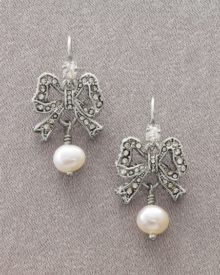 Juicy Couture Pearl Bow Drop Earrings