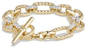 David Yurman Cushion Link Bracelet With Diamonds In 18K Gold