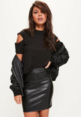 Black Faux Leather Mini Skirt $29 thestylecure.com