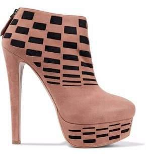 Alaia Laser-cut Suede Platform Ankle Boots