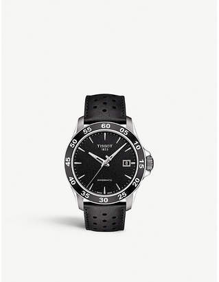 Tissot T106.407.16.051.00 Swissmatic stainless steel and black leather watch