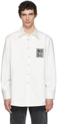 Raf Simons White Denim Logo Patch Shirt