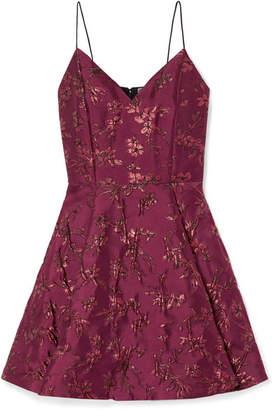 Alice + Olivia Anette Pleated Metallic Jacquard Mini Dress - Burgundy