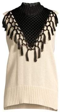 Yigal Azrouel Macrame Fringe Knit Sleeveless Sweater