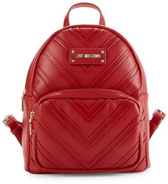 Love Moschino Chevron Faux Leather Backpack