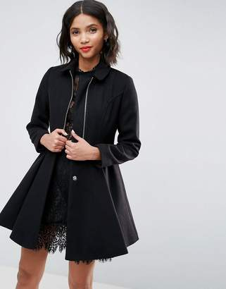 Asos Swing Coat With Full Skirt And Zip Front
