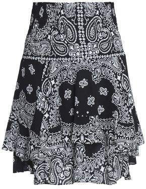 A.L.C. (エーエルシー) - A.l.c. Printed Smocked Silk-Crepe Mini Skirt