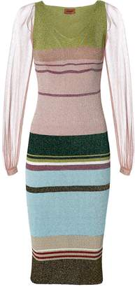 Missoni Sheer Sleeve Striped Lurex Dress