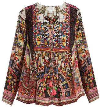 Camilla Tiny Dancer Print Lace Up Silk Top - Womens - Multi