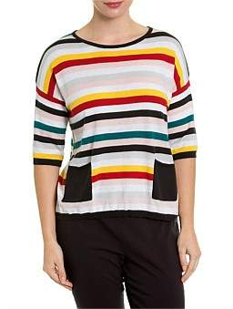 Marc O'Polo Marco Polo Elbow Mixed Stripe Tee
