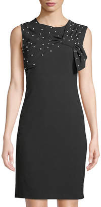 Karl Lagerfeld Paris Pearl-Embellished Sleeveless Sheath Dress
