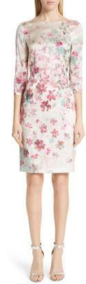 St. John Brushstroke Floral Stretch Silk Dress