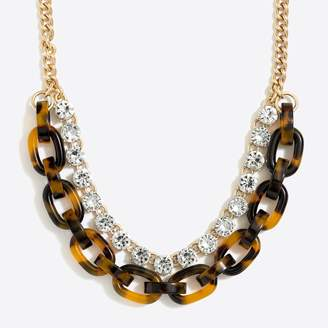 J.Crew Factory Crystal tortoise link statement necklace