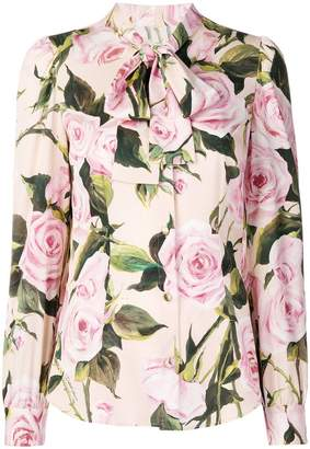 Dolce & Gabbana rose print chiffon blouse