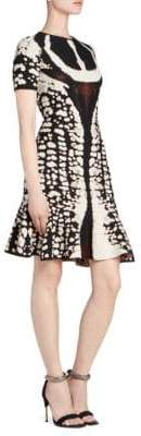 Alexander McQueen Women's Graphic Print Mini Flounce Dress - Black Ivory - Size XS