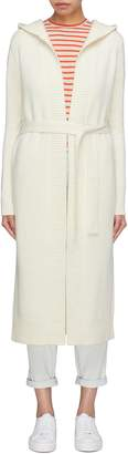 CRUSH Collection Belted hooded wool-cashmere knit coat
