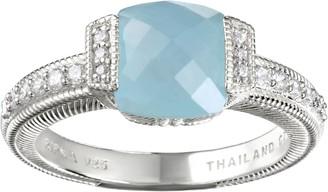 Judith Ripka Sterling Milky Aquamarine & Diamonique Ring