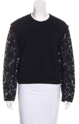 3.1 Phillip Lim Lace-Trimmed Crew Neck Sweatshirt