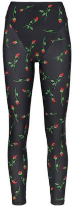 Adam Selman rose print French-cut leggings