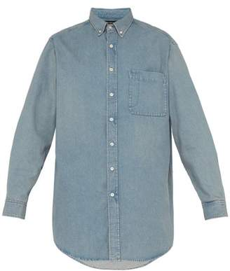 Balenciaga Logo Print Cotton Chambray Shirt - Mens - Light Blue