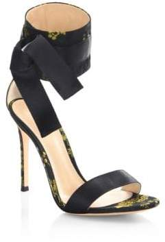 Gianvito Rossi Floral Satin Open Toe Sandals