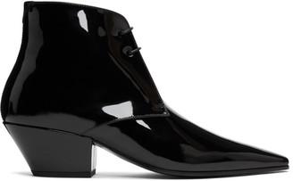 Saint Laurent Black Patent Belle Laced Boots