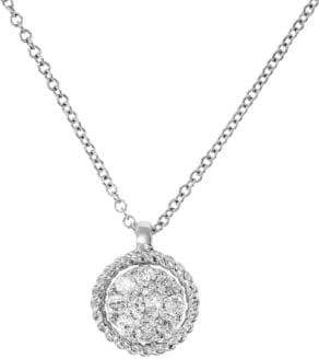 Effy Diamond & 14K White Gold Pendant Necklace