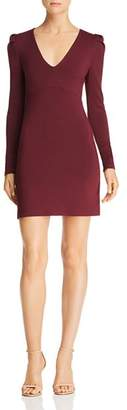 Olivaceous Long-Sleeve V-Neck Bodycon Dress