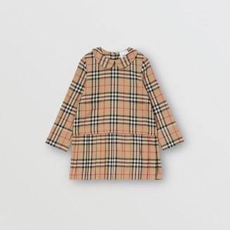 Burberry Peter Pan Collar Vintage Check Cotton Dress