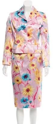 Dolce & Gabbana Floral Silk Skirt Suit