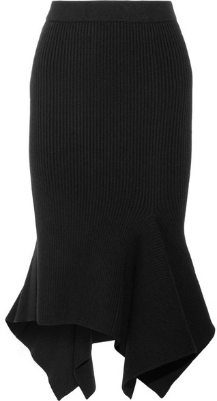 Michael Kors Collection - Ribbed-knit Wool-blend Midi Skirt - Black