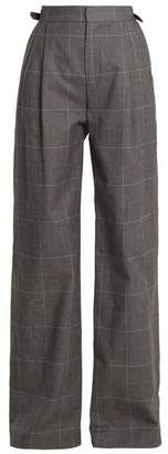 ATTICO Caterina Wide Leg Checked Cotton Trousers - Womens - Grey Multi
